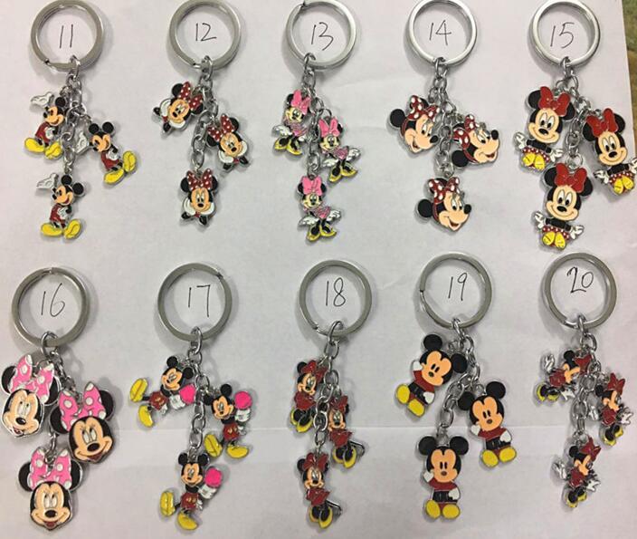 New 1set Cartoon mickey minnie Pendant DIY Key Chains With