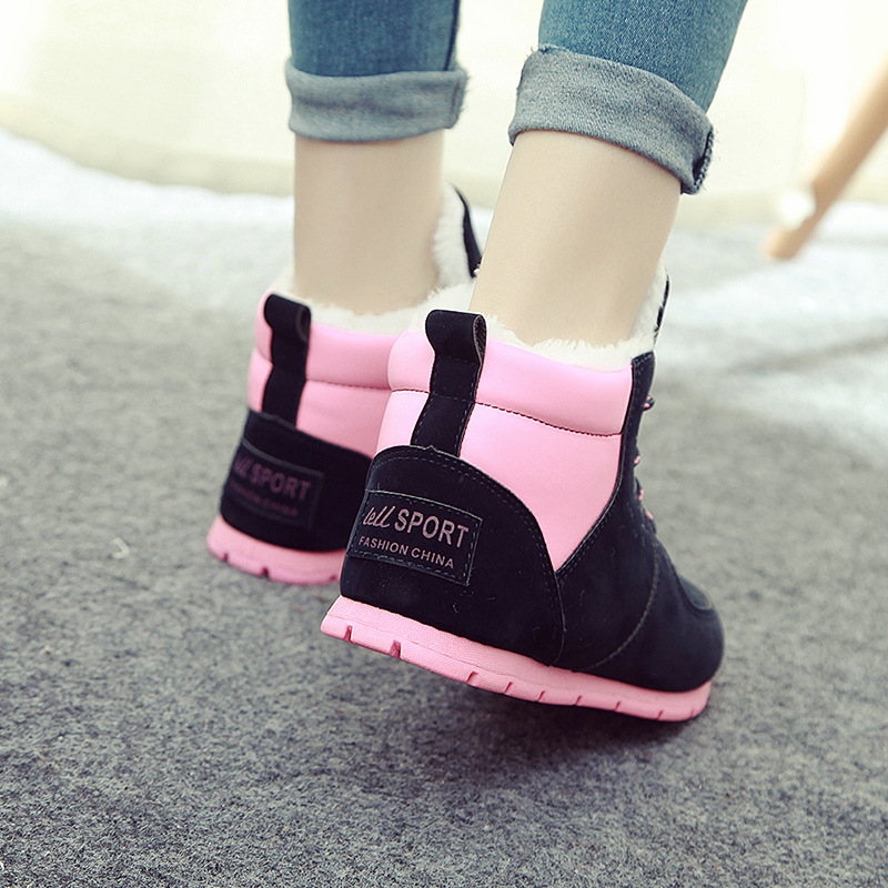 New Women Snow Boots Winter Shoes Boots Ankle Ankleots Warm Plush Platform Ankle Boots Brand Female Snow Boots Waterproof platform bowkont flocking snow boots