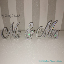 Crystal encrusted Mr & Mrs sign wedding decor