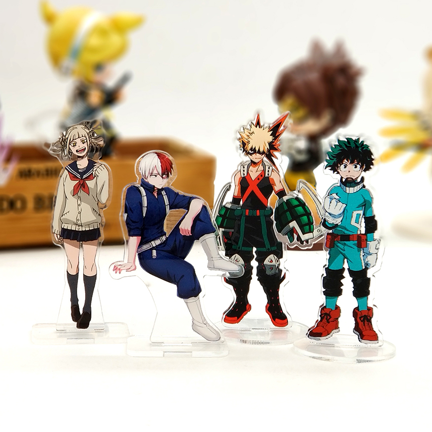 Love Thank You My Hero Academia Boku Midoriya Deku Shoto Bakugou Toga Acrylic Stand Figure Model Plate Holder Cake Topper Anime