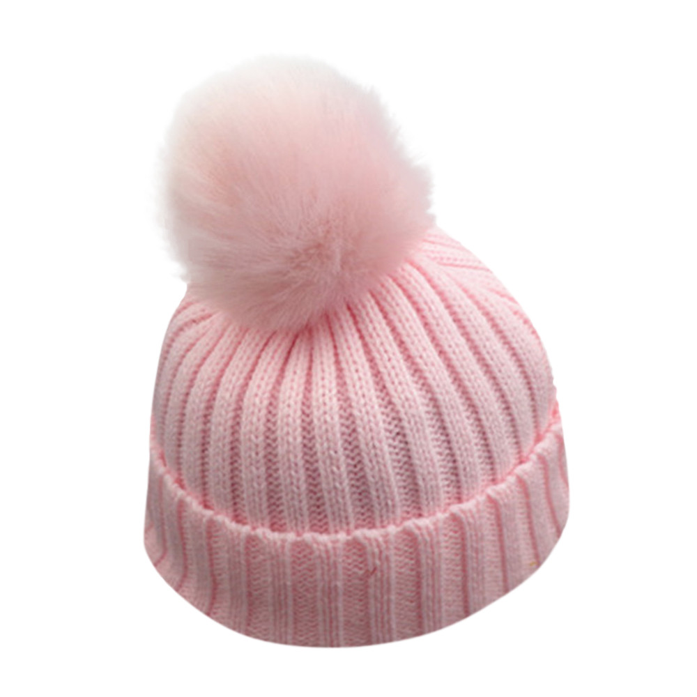 #5 2018 NEW HOT Fashion Kids Toddler Children Warm Knit Beanie Hat Boys Girls Fur Pom Bobble Crochet Cute Cap Free ship