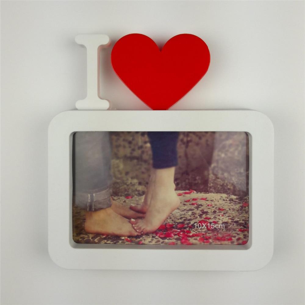 Ich Liebe Dich Bilderrahmen Rote Herzförmige Mit Einem Bild 6x4 \