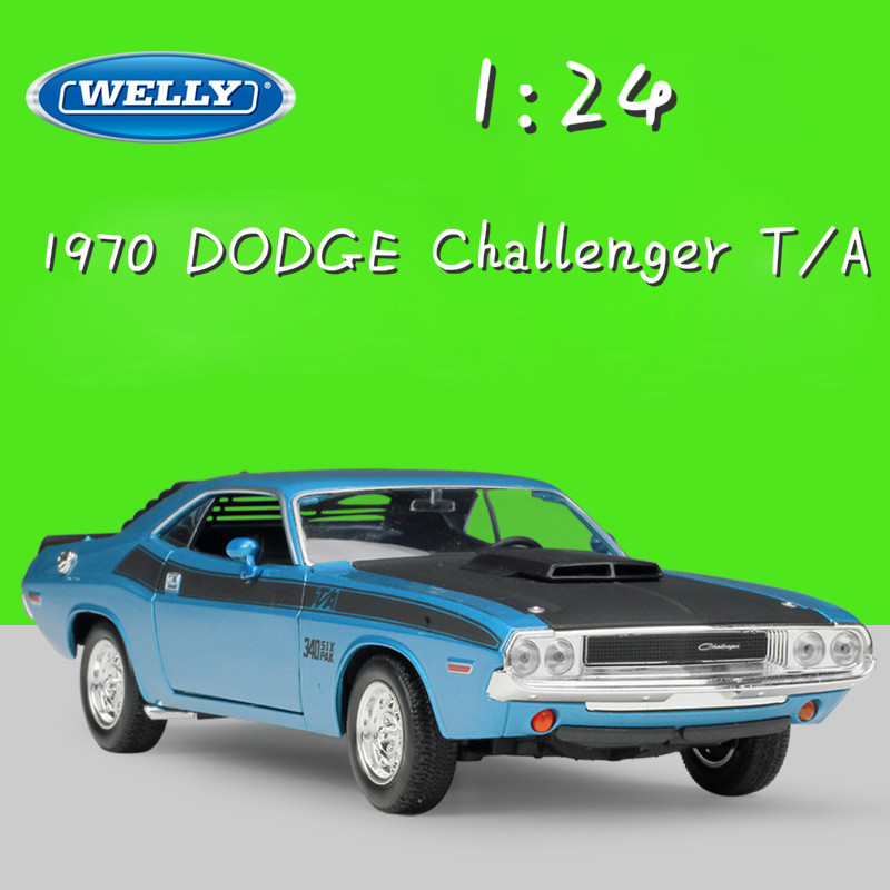 WELLY 1:24 Scale Diecast Toy Car 1970 DODGE Challenger T/A Model Car Metal Classic Alloy Cars Toy For Children Gifts Collection