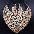 Роскошные Полные Стразы Кристалл Себе Ожерелье и серьги для Женщин Свадьба Африканских Ювелирные Наборы