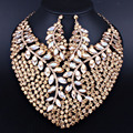 Luxury Full Rhinestones Crystal Statement Necklace and Earrings set for Women Wedding Party African Jewelry Sets