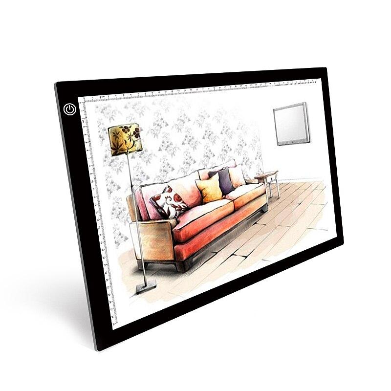 Boîte à lumière LED traçage copie tableau peinture écriture tableau A3 dessin numérique tablette graphique trois niveaux variateur LED boîte à lumière Pad