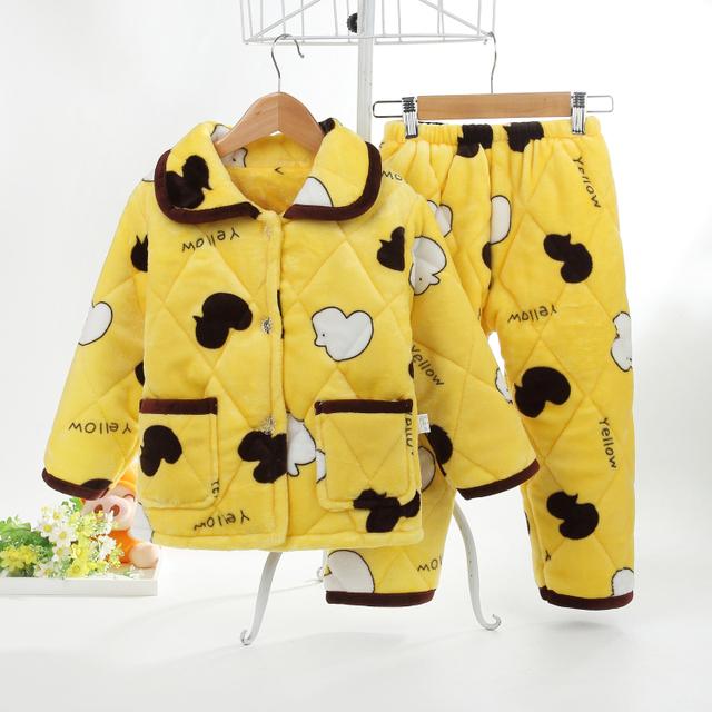 2016 niños de Invierno Gruesa Franela Pijamas Conjuntos de Pijamas para Niños niño Niñas Ropa de Noche de 3 Capas de lana pijamas camisón niñas