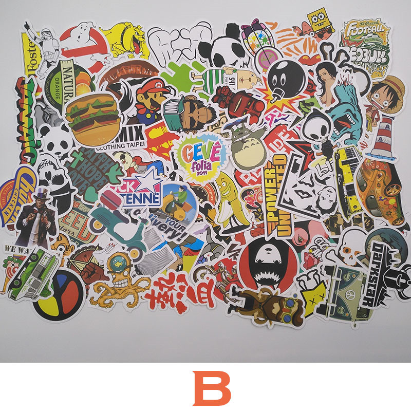 TD ZW 7 Combinations 100pcs/pack DIY Waterproof Funny Laptop Car Stickers For Trunk Skateboard Guitar Fridge Decal Toy Stickers