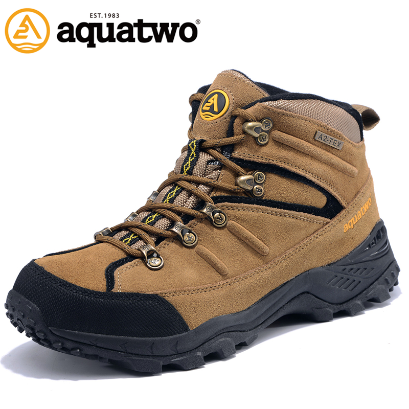 AQUA TWO Outdoor Camping Men Sports Hiking Shoes Genuine Leather Walking Sneakers Wear-Resistance Metal Buckle Shoes HDS-100943