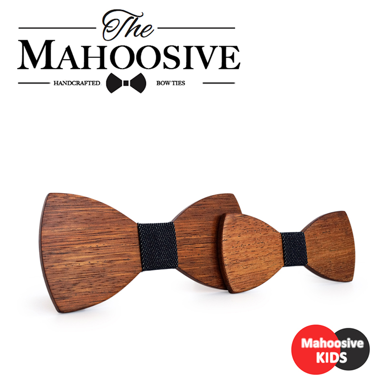 Mahoosive Cute Kids Boys Wood Bow Tie Children Butterfly Type Bow Ties Girl Boys Wooden Bow Ties