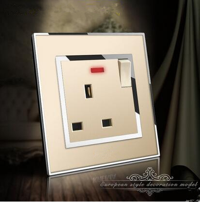 UK Standard 1 Gang 1Way Push Button Wall Switch With 13A Socket , Gold Crystal  Panel 3P outle