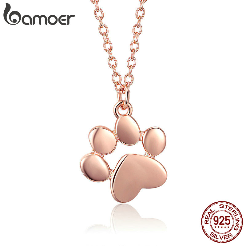 лучшая цена BAMOER 925 Sterling Silver Rose Gold Color Animal Footprints Dog Cat Footprints Necklaces Pendants Women Silver Jewelry SCN275-3