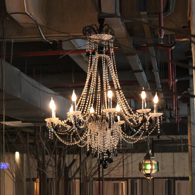 Luxury Crystal Chandelier Lighting Black And White Candle Edison Chandeliers Decorative Rustic