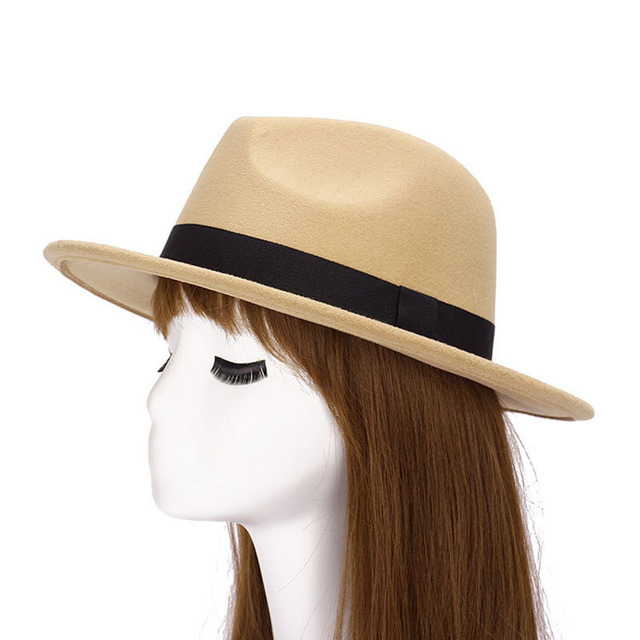 2017 Autumn Winter Womens Felt Hat Fedoras Big Brim Hats For Women British  Style Vintage Church 883a5935ef58