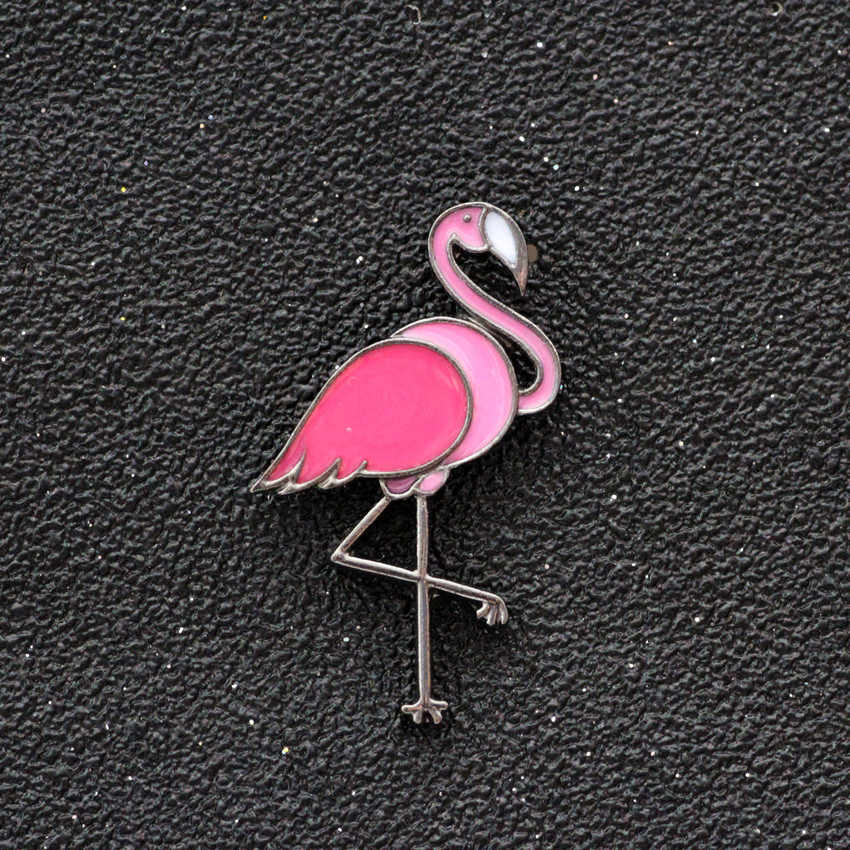 Flamingo Timlee X120 Lucu kartun Kaktus Es Krim Popcorn Strawberry Nanas Tombol Pin Logam Bros Pins Hadiah Grosir