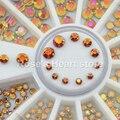 2017 3D de Volta Redonda Plana Tamanhos Mix Nail Art Stickers dicas Roda Glitter Gems Prego Rhinestones Decoração Ferramentas 2 MM 3 MM