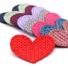 33mm 10 piezas Mini corazón algodón tejido flor para el hogar sombrero Zapatos Ropa Decoración Scrapbooking DIY artesanal Accesorios