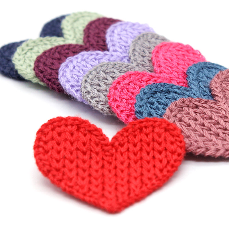 33mm 10pcs Mini Heart Cotton Knitting Flower For Home Hat Shoes Clothing Decoration Scrapbooking DIY Handmade Crafts Accessories
