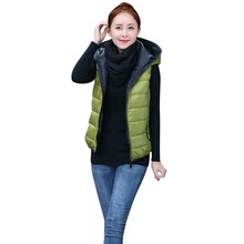 Newest Thickening Outerwear Hooded Patterns Comfortable Casual Cotton Women Vest Jacket Motorcycle Gilet Free shipping Warm Vest