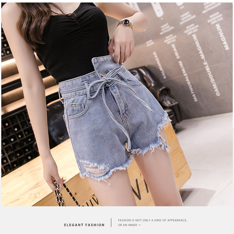 Denim Shorts For Women 2019 Summer New High-waisted, Loose-fitting, Irregular A-line Wide-leg Pants Lady Female Jeans