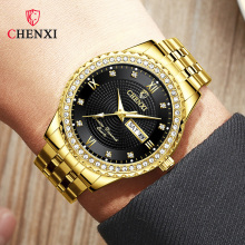 CHENXI Luxury Men Gold Watches Golden Stainless Steel Waterproof Male Business Watch Calendar Week Quartz Men's Dress Wristwatch цена и фото