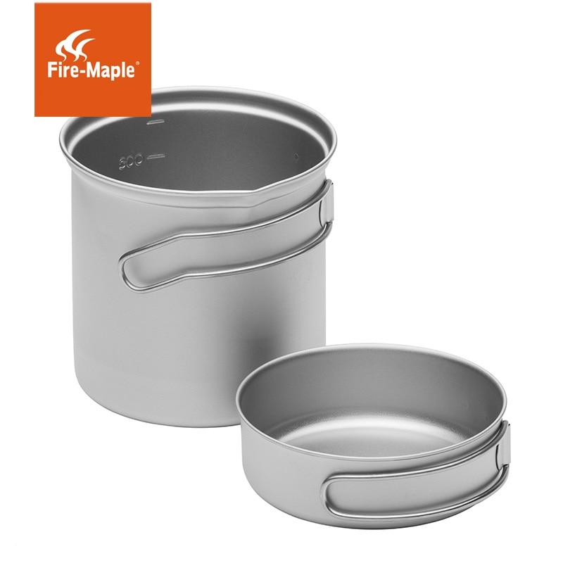 Titanium Cookware Set Camping Pan Outdoor Pot Picnic Tableware FMC-STi