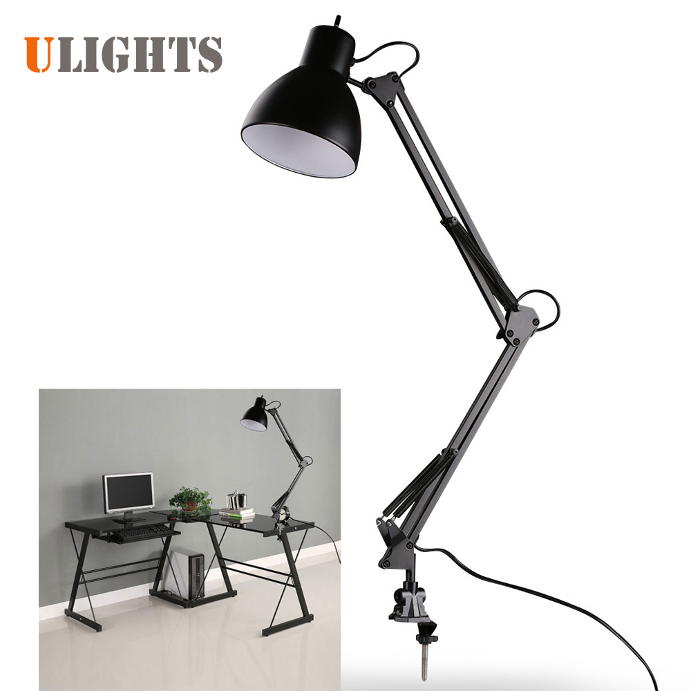 Black Flexible Swing Arm Clamp Mount Lamp Office Studio Home Table Desk Light цена