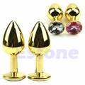 Gold alloy Metal Plated Jeweled Butt Toy Plug Anal Insert Sexy Stopper Massage Tool