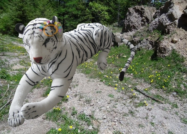 """Giant Stuffed Tiger,Plush Animal with White and Black Fur, with High Quality PP Cotton, Very Soft, 67"""" Long, Foreign Order Stock"""
