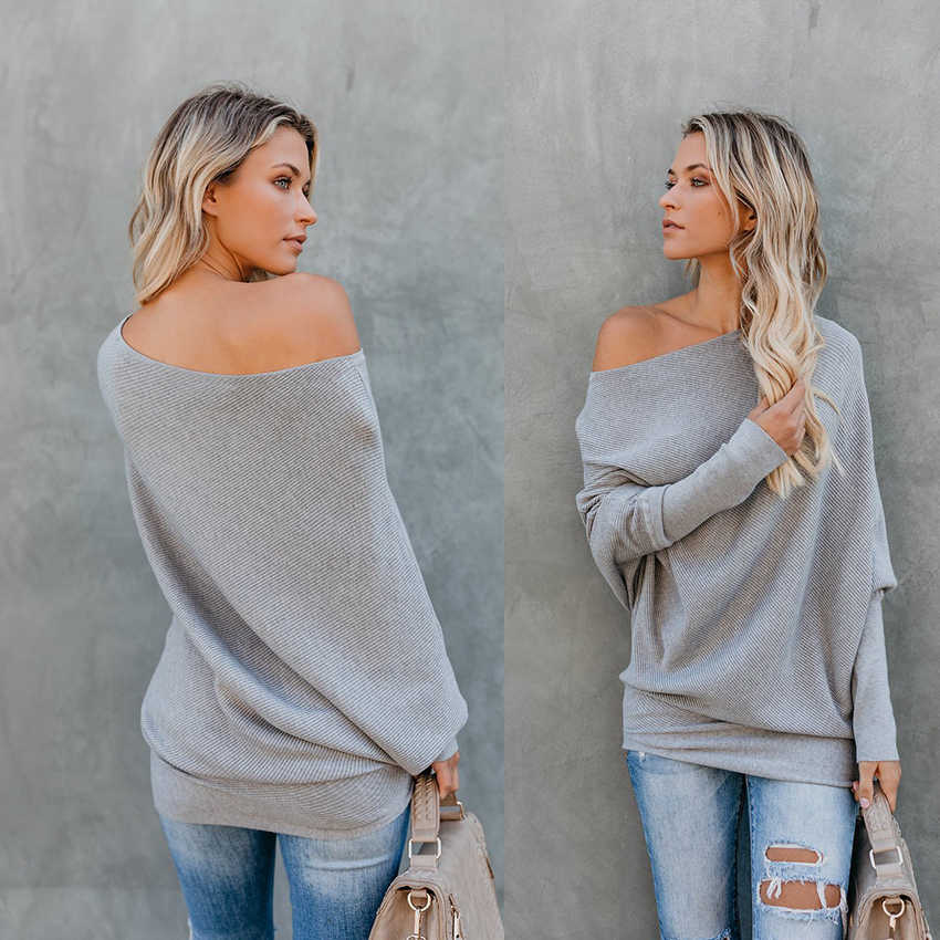 9ca856bd85e2a Detail Feedback Questions about 2019 New style autumn winter fashion Pullover  woman Sweater Preppy Style Slash neck Long sleeve black white Gray khaki ...