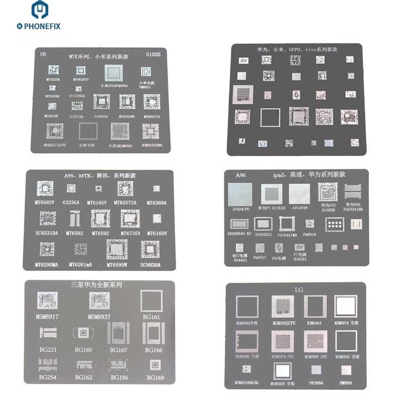 PHONEFIX Stainless Steel BGA Reballing Stencil Planting Tin Sheet For Samsung Huawei Qualcomm Xiaomi Oppo Vivo LG IPad SPRD MTK