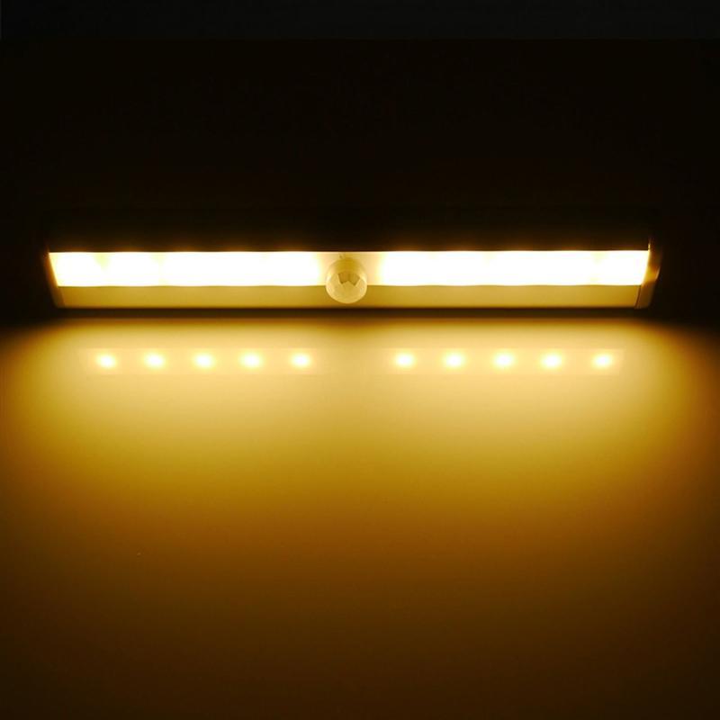 Portable Motion Sensor Closet Cabinet Battery Powered DIY Warm White LED Night Light