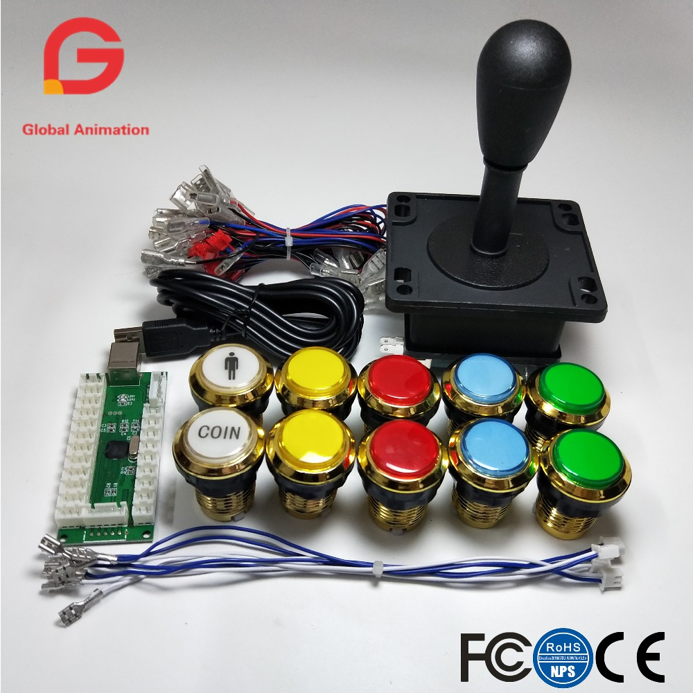 Arcade Game DIY Accessories Kit for PC and Raspberry Pi 2Pin 8way Happ joystick and gilded LED Illuminated push buttons