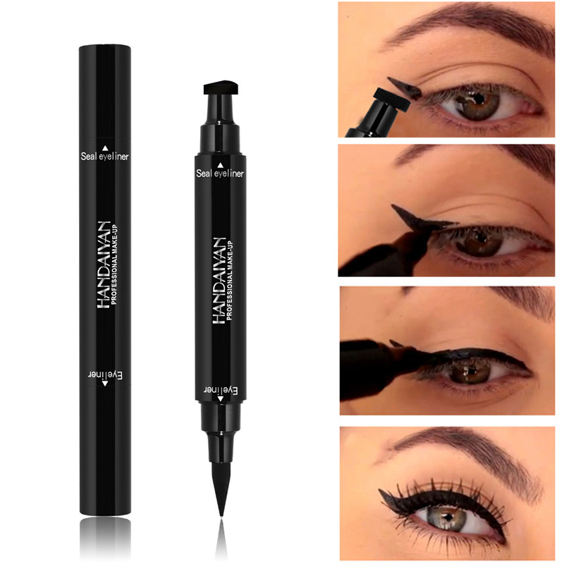 HANDAIYAN Brand Black Double-headed Eyeliner Pencil With Miss Stamp Seal Maquiagem Waterproof Wing Eye Liner Cosmetics
