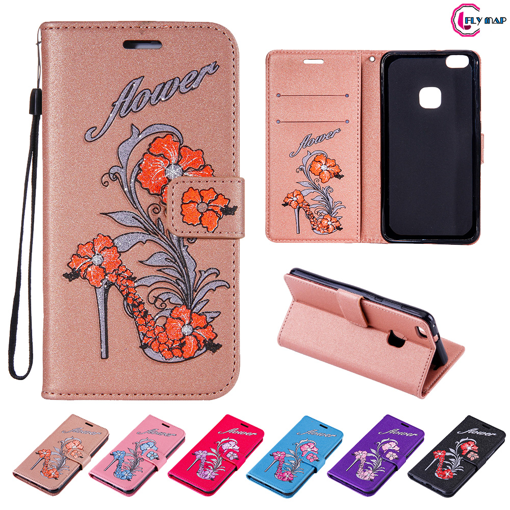 Glitter Flip Case for Huawei P10 Lite WAS-LX1 Floral High heels Leather Cover Phone Case for Huawei P 10 Lite WAS LX1 TL10 Capa