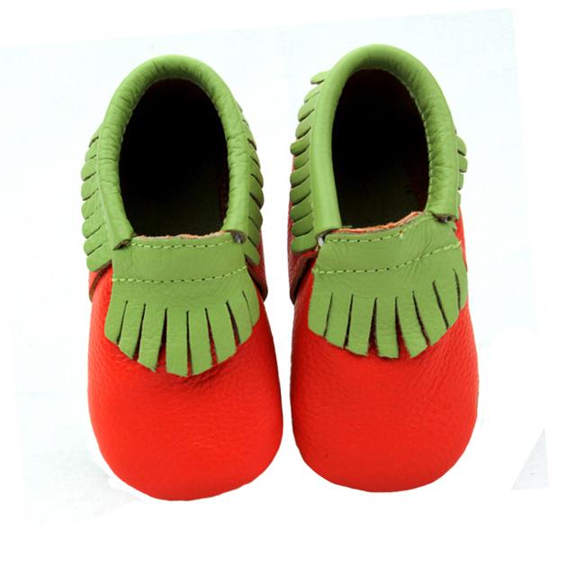 Melancia bonito Genuínos mocassins De Couro Do Bebê primeiros Caminhantes Macio infantil Franja sapatos berço do bebê recém-nascido 0-30month chaussures