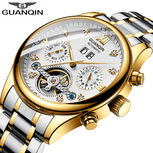 New GUANQIN Watch Men Luxury Automatic Mechanical Waterproof Watch Stainless Steel Date Gold Mens Wristwatch Erkek kol saati купить недорого в Москве