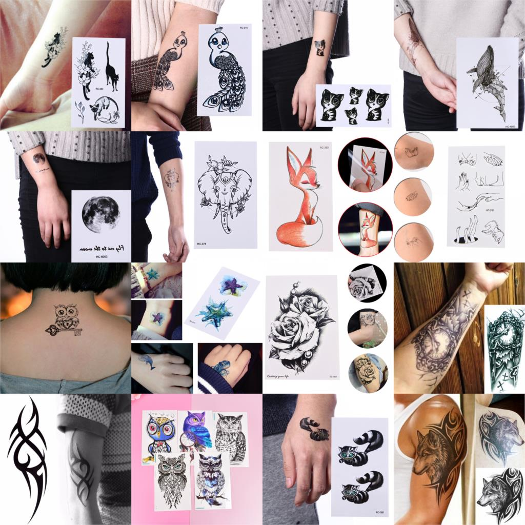 Mandala Henna Owl Fox Cat Fish Waterproof Temporary Tattoo Sticker Body Art Tatto Flash Tatoo Fake Tattoos For Girl Women Men