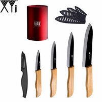 High Grade Bamboo Handle Kitchen Knives XYJ Brand 3 4 5 6 Ceramic Knives Set Knife