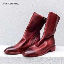 Women ankle boots Shoes Genuine Leather Vintage Zip Ladies M