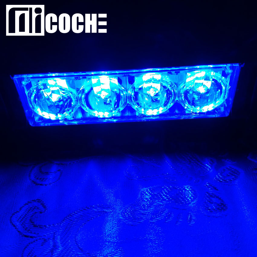 1pcs Blue 12W 4LED Car SUV Warning Light Front Grill Lightbar Emergency Strobe Police Flashing Beacons Hazard Light заглушки д плинтуса идеал альфа венге 2лев 2прав