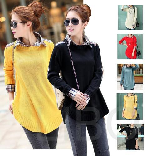 2017 Spring New Women long Pullover knitwear tops shirt collar ...