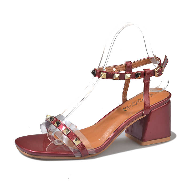 b0ae84c1dbe ... Women High Heels Pumps Rivets Transparent Heeled Sandals Peepp Toe  Buckle Strap Block Heel Slingback Shallow ...