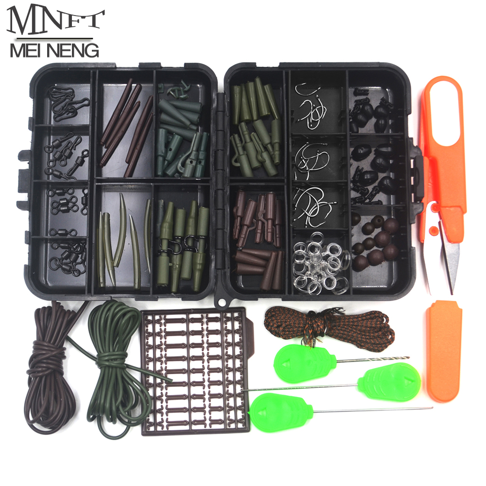 MNFT 1Set Carp Fishing Tackle Kit Box Lead Clips/Beads/Hooks/Scissors/Rigging/ Anti-tangle Sleeves/Swivels Baits Terminal Tackle