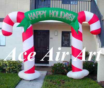 2016 outdoor happy holiday double inflatable candy cane ...