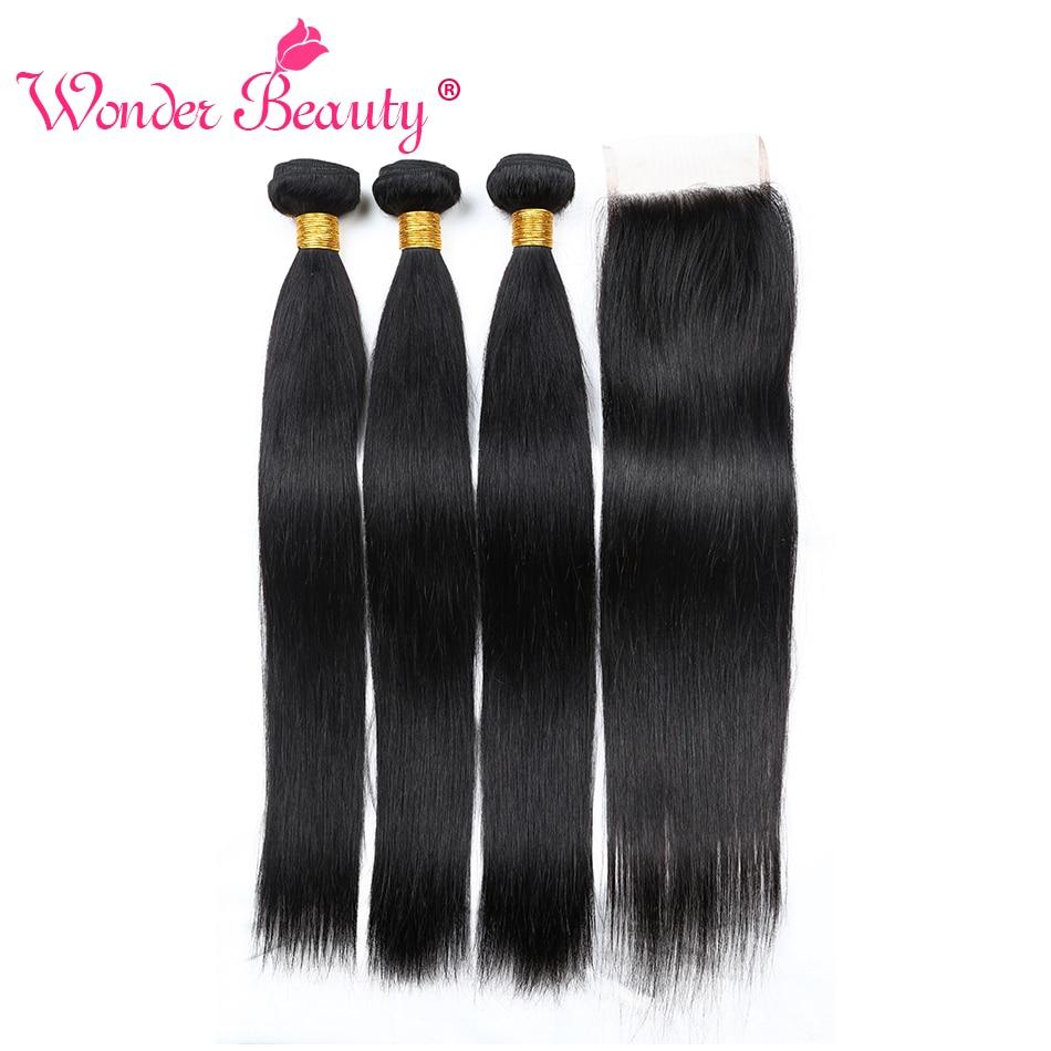 Keajaiban Kecantikan Rambut Manusia Tenun Rambut Lurus India 3 bundel - Rambut manusia (untuk hitam)