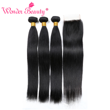 hot deal buy wonder beauty human hair weaves indian straight hair 3 bundles with lace closure free part 4 bundles deal extensions free ship