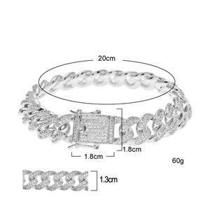 Image 5 - Uwin Hip Hop Luxury Crystal Cz Zircon Triple Lock Bracelet 14mm Cuban Link Box Clasp Bracelet Men Female Jewlery Drop Shipping