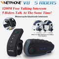 Vnetphone Full Duplex V8 1200 M Casco de La Motocicleta Del Intercomunicador Del Casco Auriculares Bluetooth Intercom 5 Riders Interphone Kits con NFC