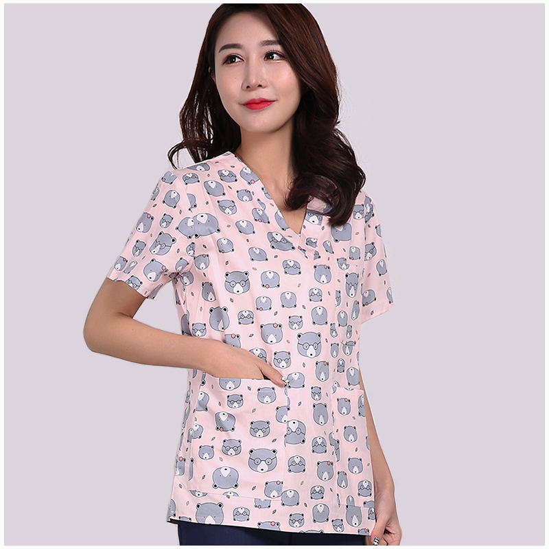 Scrub Tops Medical  Surgical Gowns Cotton Print Short Sleeve Operating Room Washcloths Pet Doctors Nurses Clothing Beauty Salons headpiece